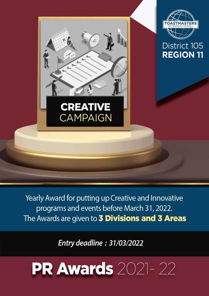 creative campaign award district 105 toastmasters