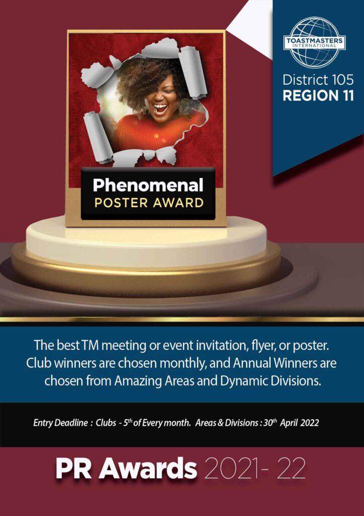 phenomenal poster award district 105 toastmasters